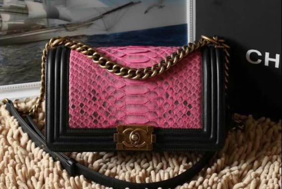 Chanel PYTHON Lambskin Gold Metal boy handbag A67086 Black&Rose