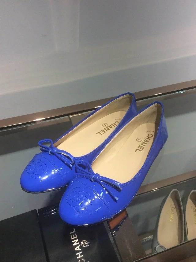 Chanel Sheep patent leather ballerinas blue