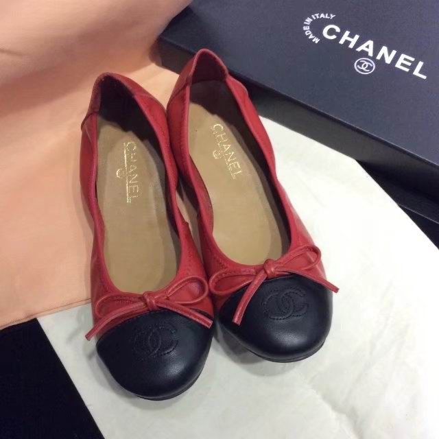 Chanel sheep skin flats red