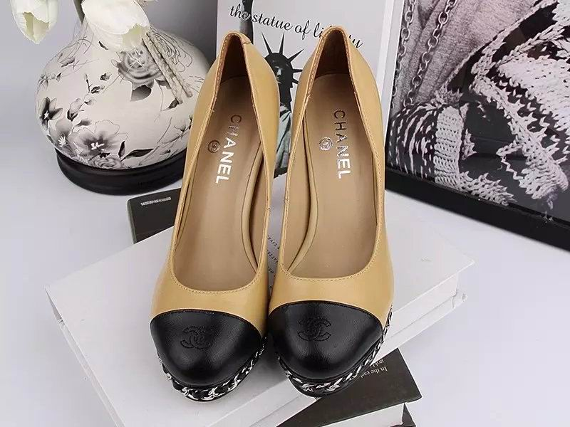 Chanel sheepskin pumps khaki