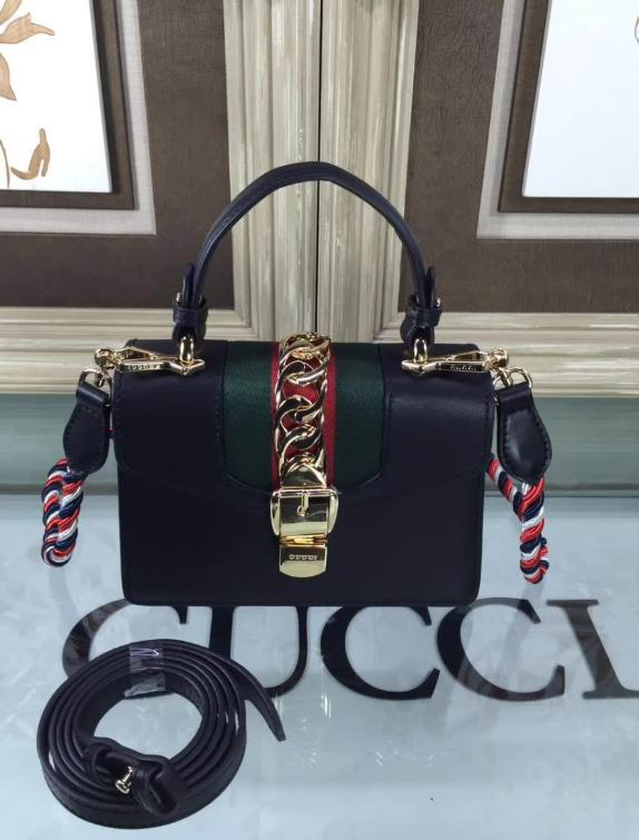 Gucci Sylvie leather mini bag black