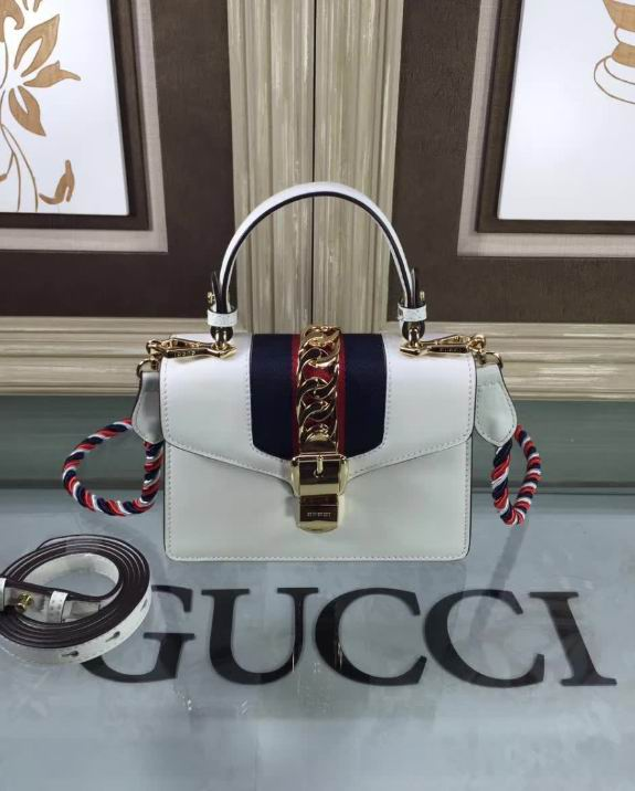 Gucci Sylvie leather mini bag white