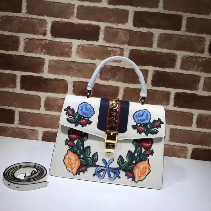Gucci Sylvie embroidered leather top handle bag white leather