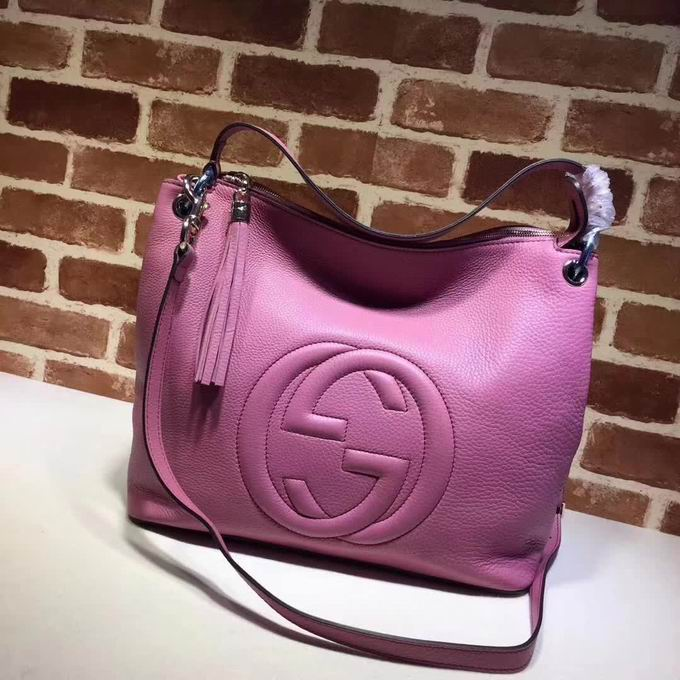 Gucci Embossed GG leather hobo rose