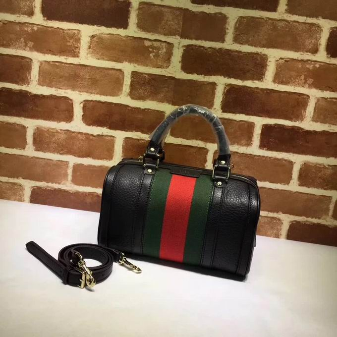 Gucci leather top handle bag black leather