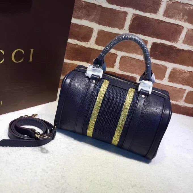 Gucci leather top handle bag blue leather