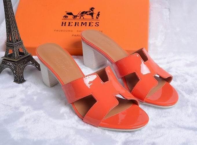 Hermes Patent leather Oasis sandal orange
