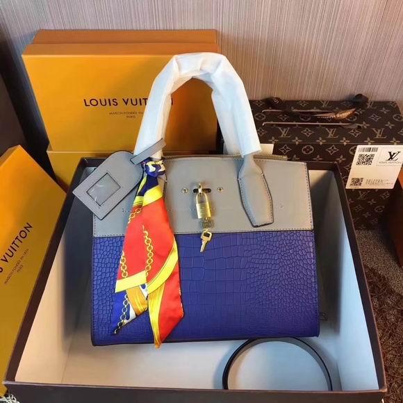 Louis Vuitton CITY STEAMER PM Blue Crocodilian leather