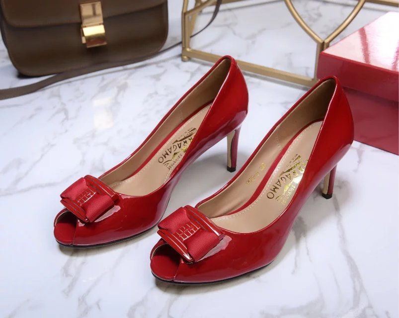 Salvatore Ferragamo Peep-Toe Pumps red