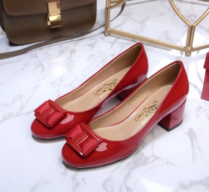Salvatore Ferragamo Vara Low Heel Pumps red