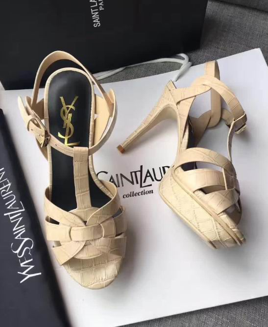 YSL CLASSIC TRIBUTE SANDAL IN STONE LEATHER