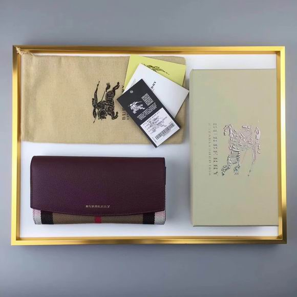 Burberry House Check And Leather Continental Wallet bordeaux