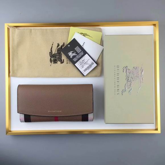 Burberry House Check And Leather Continental Wallet brown