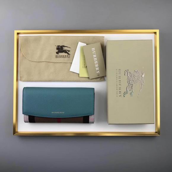 Burberry House Check And Leather Continental Wallet green
