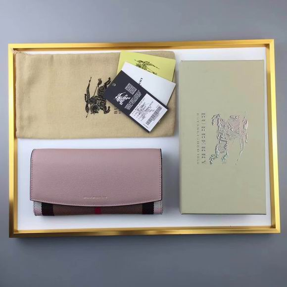 Burberry House Check And Leather Continental Wallet light purple