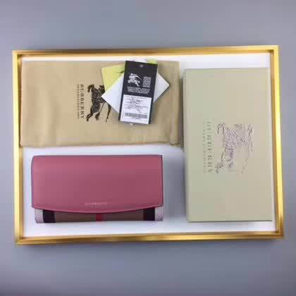 Burberry House Check And Leather Continental Wallet pink