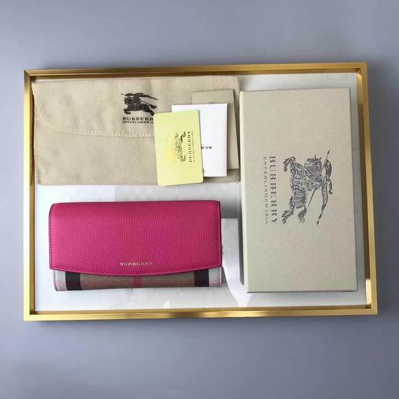 Burberry House Check And Leather Continental Wallet Rose red