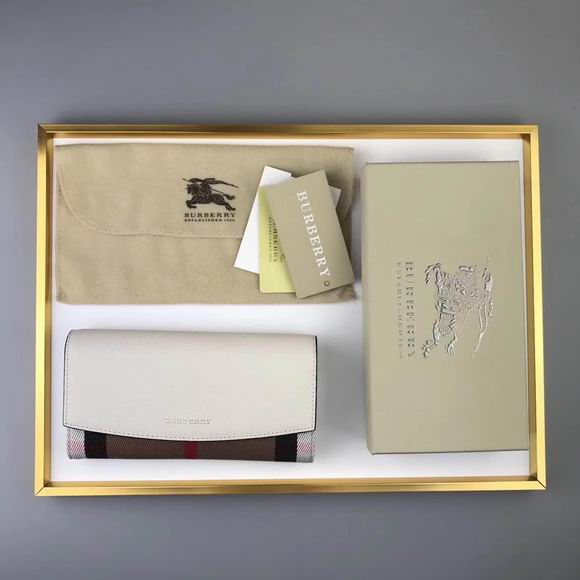 Burberry House Check And Leather Continental Wallet white