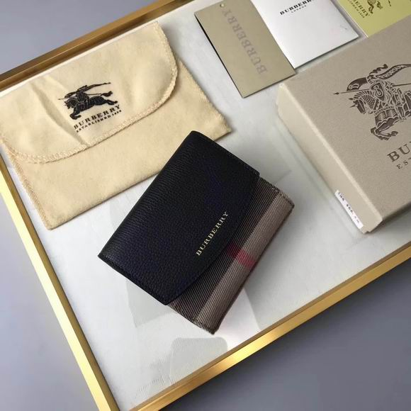 Burberry House Check and Leather Wallet black