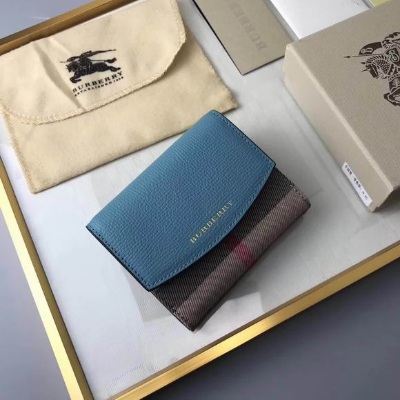 Burberry House Check and Leather Wallet blue