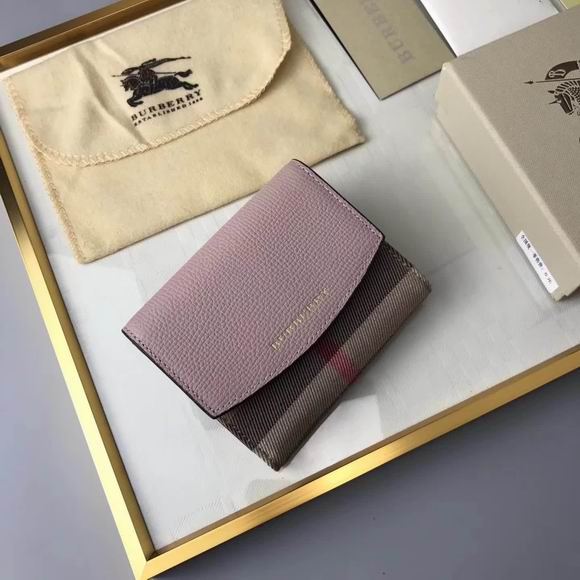 Burberry House Check and Leather Wallet pink