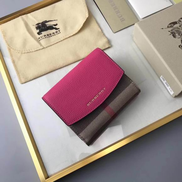 Burberry House Check and Leather Wallet rose red