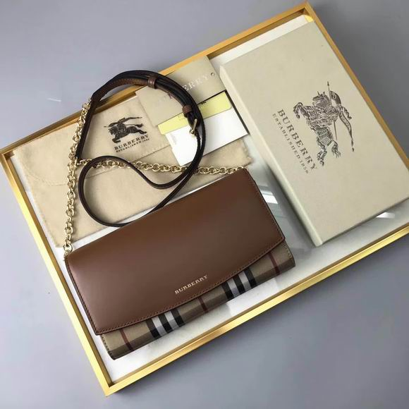 Burberry House Check and Leather Wallet with Chain brown