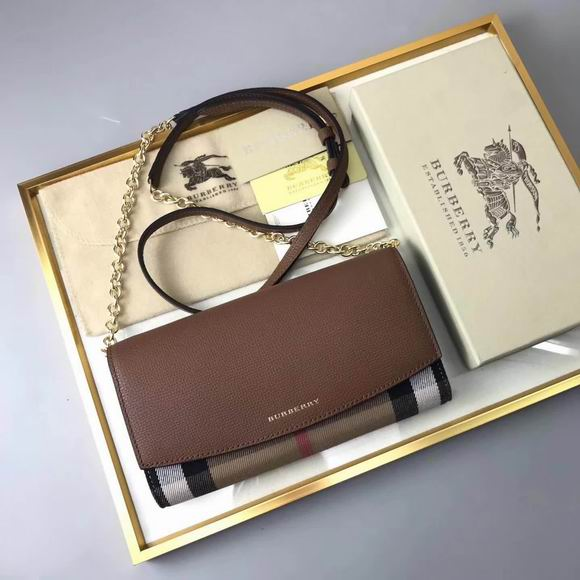 Burberry House Check and Leather Wallet with Chain dark brown
