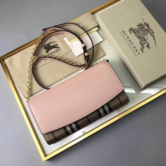 Burberry House Check and Leather Wallet with Chain pink
