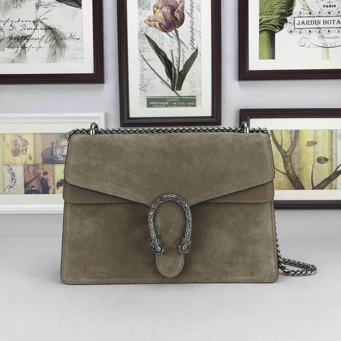Gucci Nubuck Leather shoulder Bag In Khaki