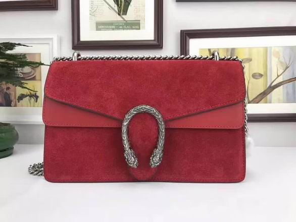 Gucci Nubuck Leather shoulder Bag In red