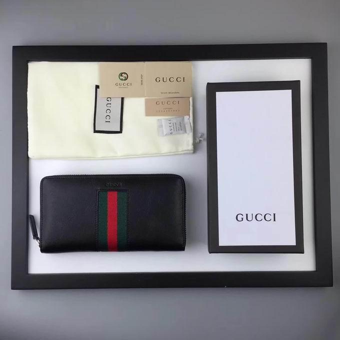 Gucci leather Web zip around wallet black