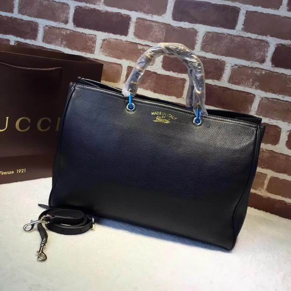 Gucci leather top handle bag black