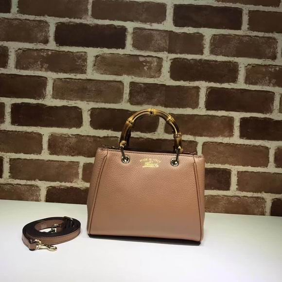 Gucci leather top handle bag light brown