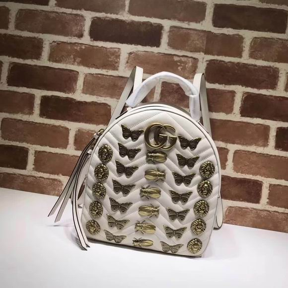 Gucci GG Marmont animal studs leather backpack white