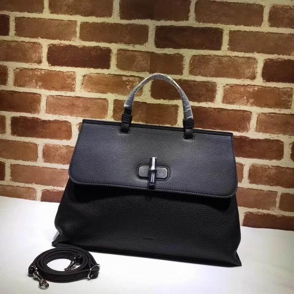 Gucci leather handle bag black