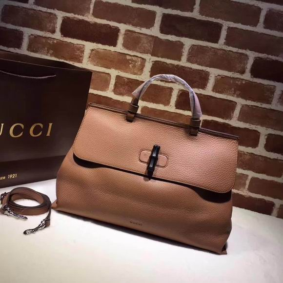 Gucci leather handle bag brown