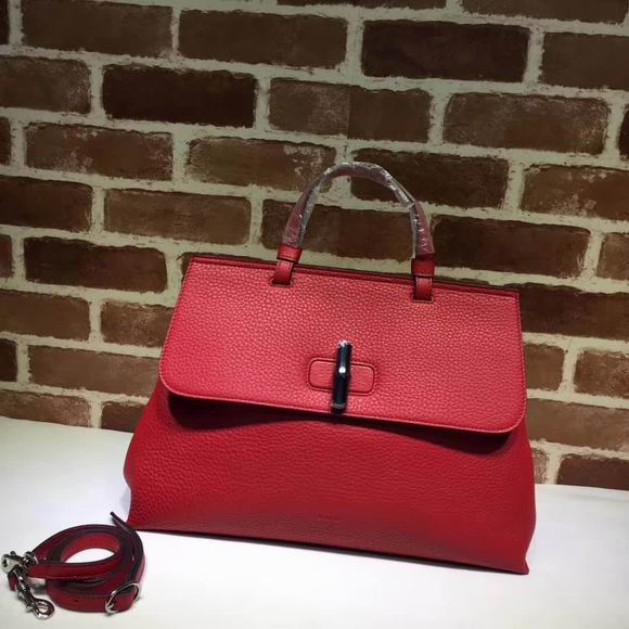 Gucci leather handle bag red
