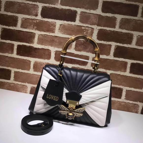 Gucci Queen Margaret medium top handle bag black & white