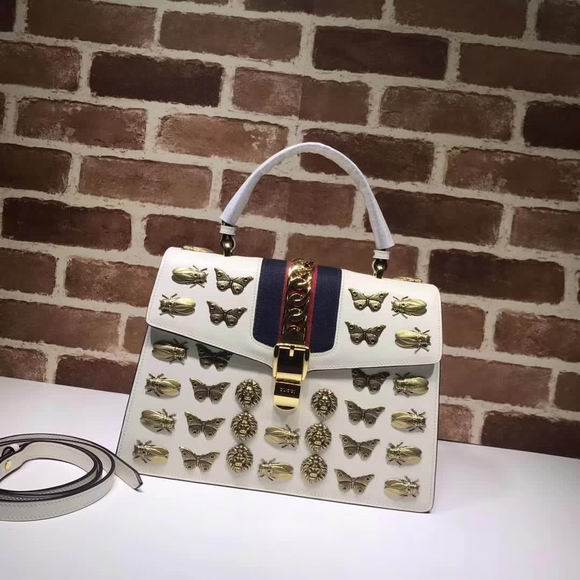 Gucci Sylvie  animal studs medium top handle bag white