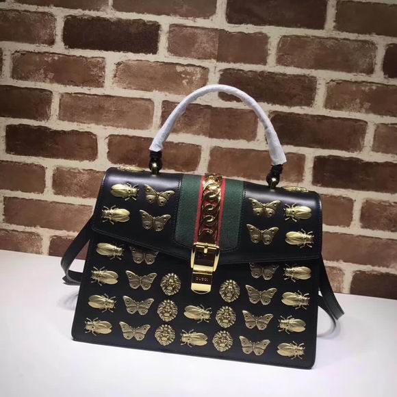 Gucci Sylvie animal studs medium top handle bag black