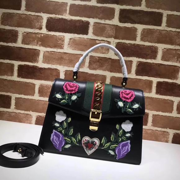 Gucci Sylvie Embroidered Leather Top Handle Bag black Leather