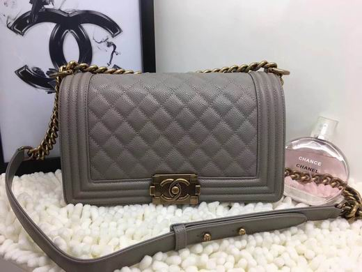CHANEL LEBOY 25CM BALL MARKS COWHIDE HANDBAG GOLD METAL GREY