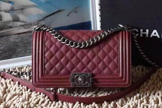 CHANEL LEBOY 25CM BALL MARKS COWHIDE HANDBAG SILVER METAL BURGUNDY