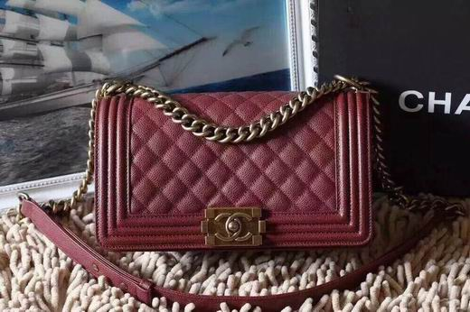 CHANEL LEBOY 25CM BALL MARKS COWHIDE HANDBAG GOLD METAL BURGUNDY