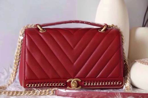 CHANEL 2017 WINTER NEW STYLE SHEEP SKIN RED No.91845 SIZE 25CM