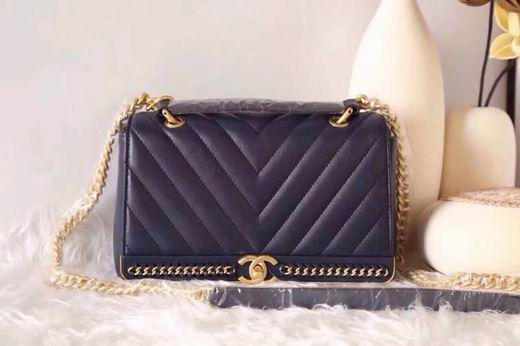 CHANEL 2017 WINTER NEW STYLE SHEEP SKIN BLUE No.91845 SIZE 25CM