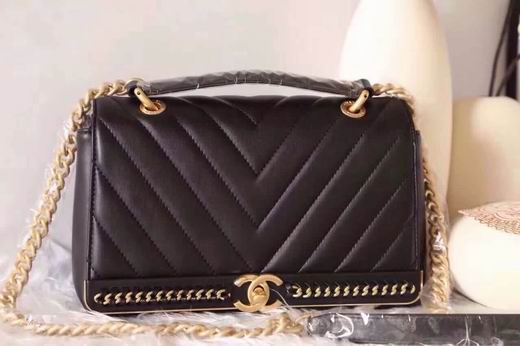 CHANEL 2017 WINTER NEW STYLE SHEEP SKIN BLACK No.91845 SIZE 25CM