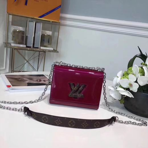 LOUIS VUITTON 2018 SPRING NEW STYLE TWIST MINI SMALL HANDBAG ROSE RED No.54730