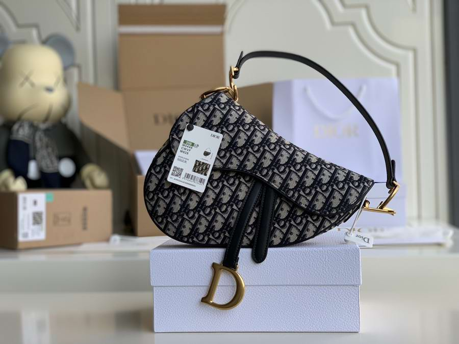 SADDLE BAG Blue Dior Oblique Jacquard